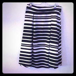 Dresses & Skirts - Black and white striped midi skirt. Med